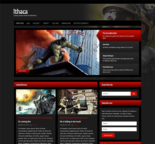 Screenshot of Gaming Theme Ithaca