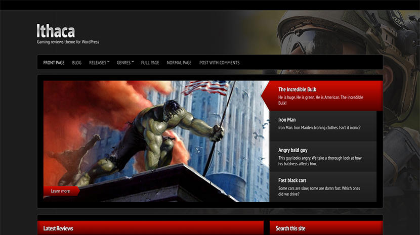 Screenshot of Gaming theme for WordPress Ithaca on Desktop