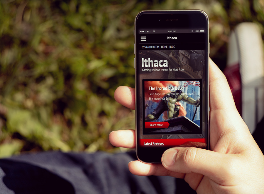 Screenshot of Gaming theme for WordPress Ithaca on Smartphone