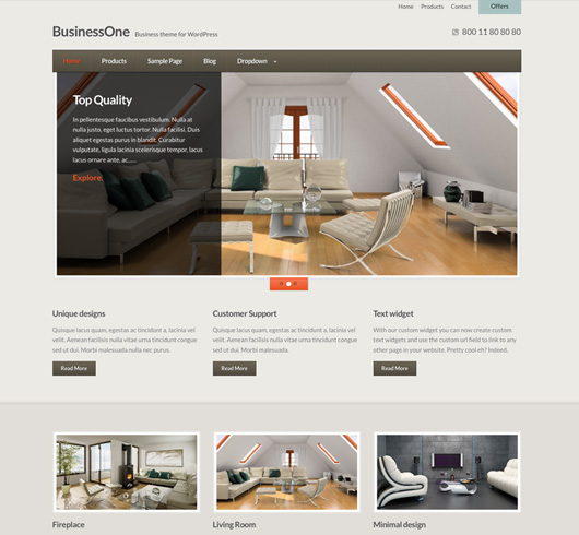 Screenshot of Business WordPress theme BusinessOne