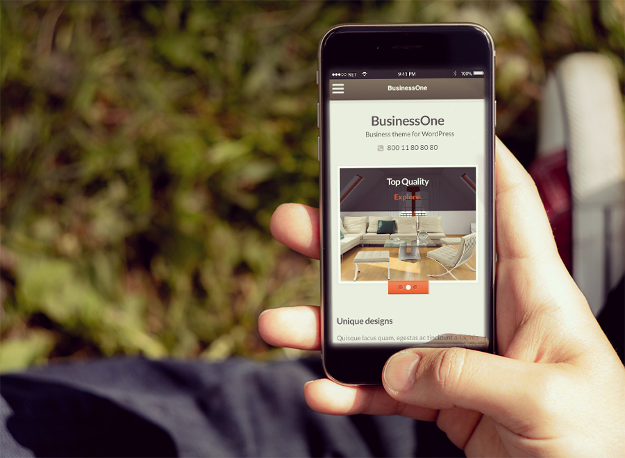 Screenshot of Business WordPress theme BusinessOne on Smartphone