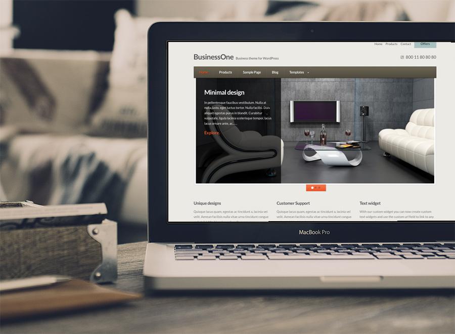 Screenshot of Business WordPress theme BusinessOne on Laptop