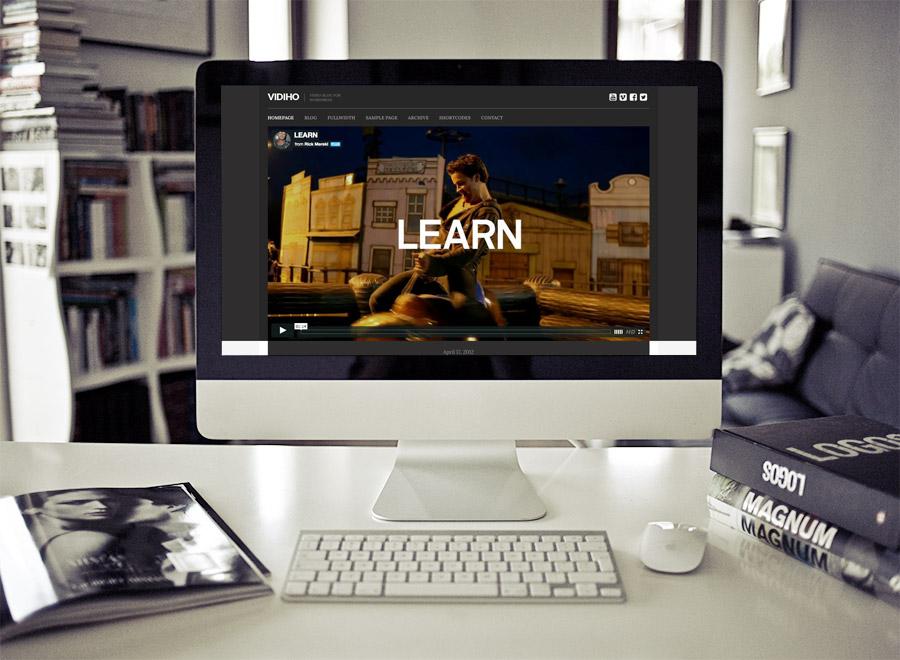 Screenshot of Video Blogging theme for WordPress Vidiho on Desktop