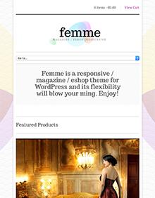 Screenshot of WooCommerce theme for WordPress Femme on Tablet