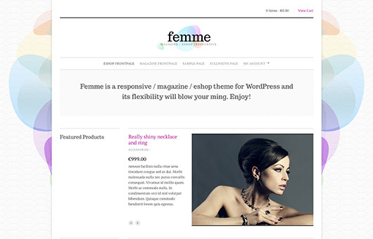 Screenshot of WooCommerce theme for WordPress Femme on Laptop