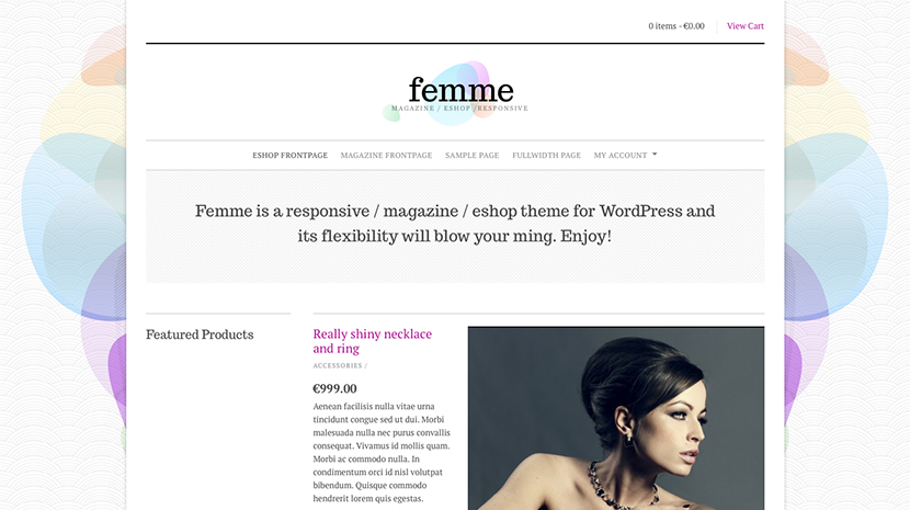 Screenshot of WooCommerce theme for WordPress Femme on Desktop