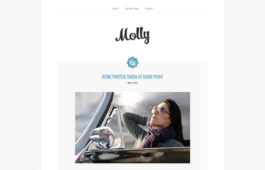Screenshot of Blogging theme for WordPress Molly on Laptop