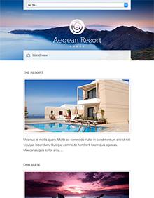 Screenshot of Hotel theme for WordPress Aegean Resort on Tablet
