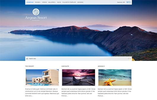 Screenshot of Hotel theme for WordPress Aegean Resort on Laptop