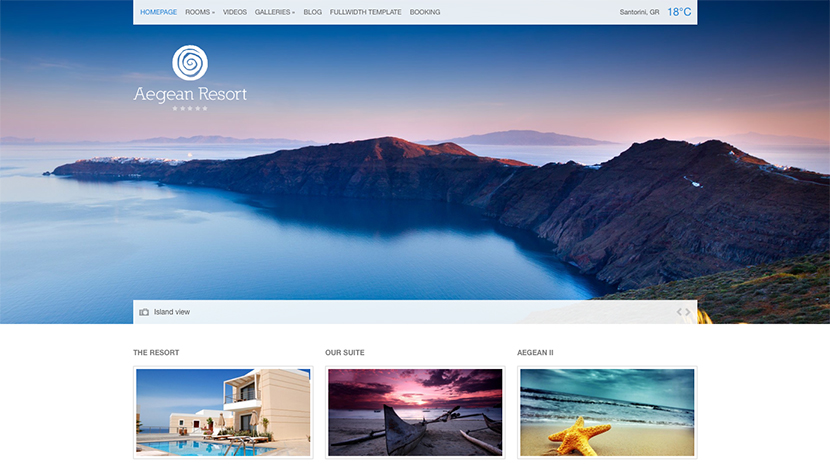 Screenshot of Hotel theme for WordPress Aegean Resort on Desktop