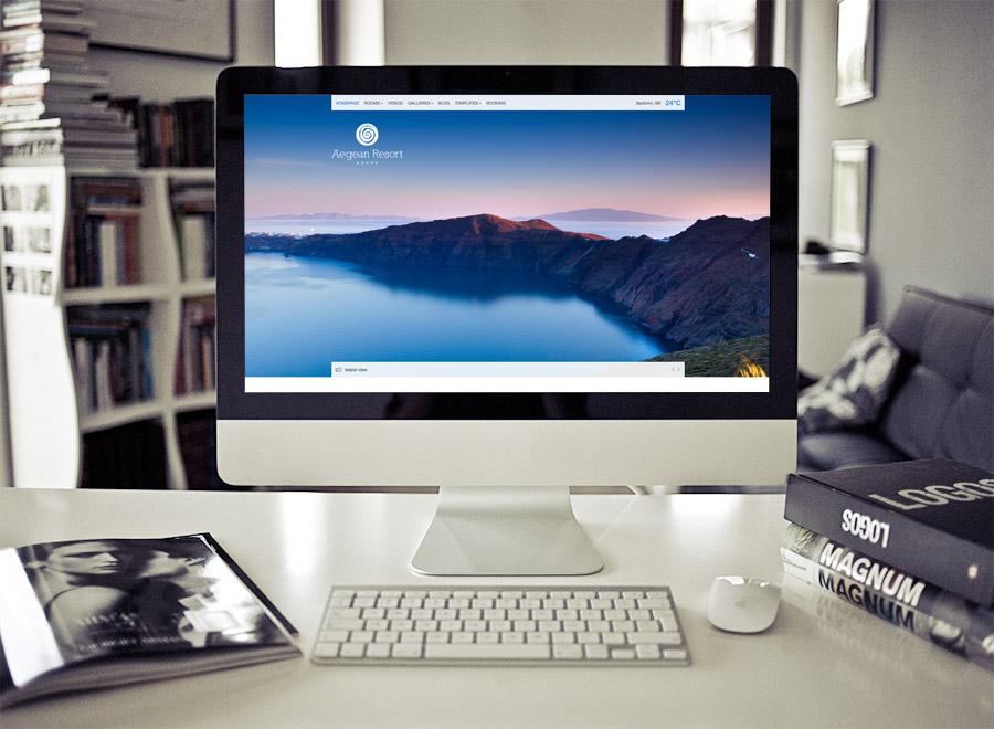 Screenshot of Hotel theme for WordPress Aegean Resort on Desktop