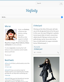 Screenshot of Pinterest-like theme for WordPress Pinfinity on Tablet
