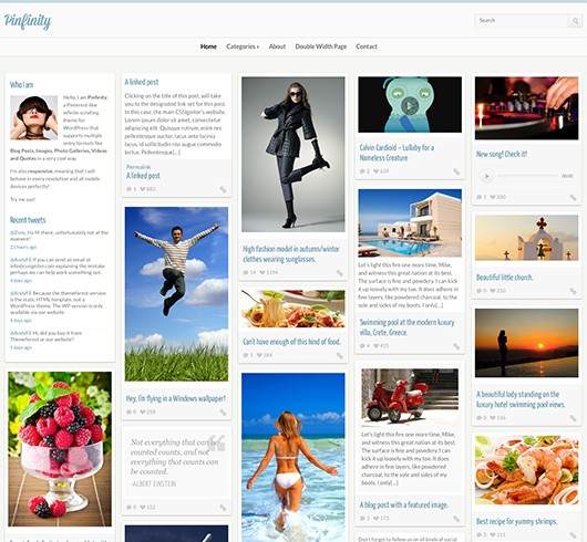 Screenshot of Pinterest-like theme for WordPress Pinfinity