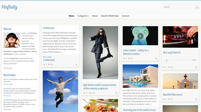 Screenshot of Pinterest-like theme for WordPress Pinfinity on Desktop