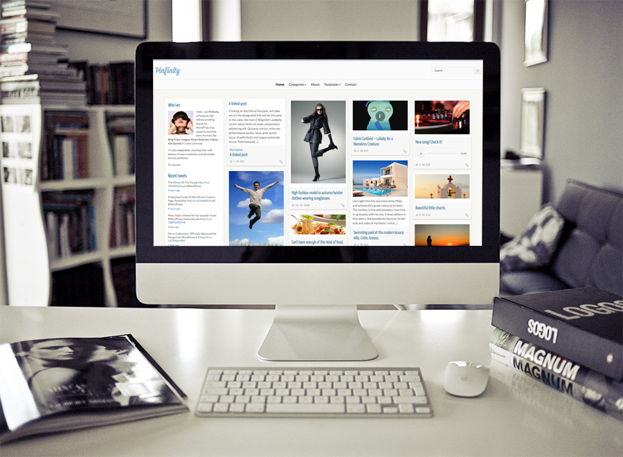 Screenshot of Pinterest-like theme for WordPress Pinfinity on Desktop