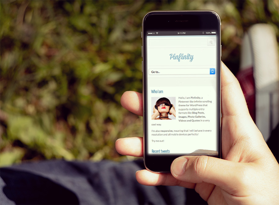Screenshot of Pinterest-like theme for WordPress Pinfinity on Smartphone