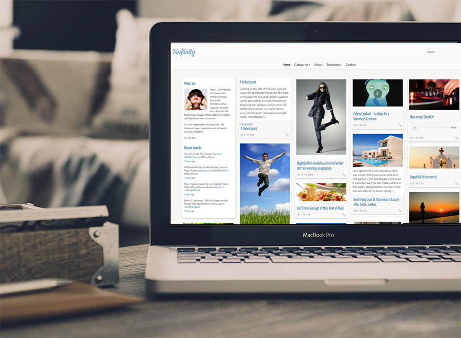Screenshot of Pinterest-like theme for WordPress Pinfinity on Laptop