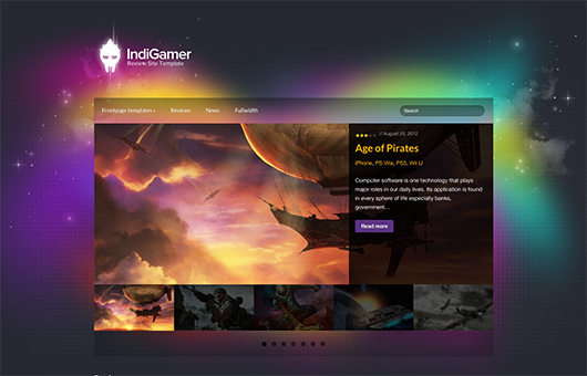 Screenshot of Review theme for WordPress IndiGamer on Laptop