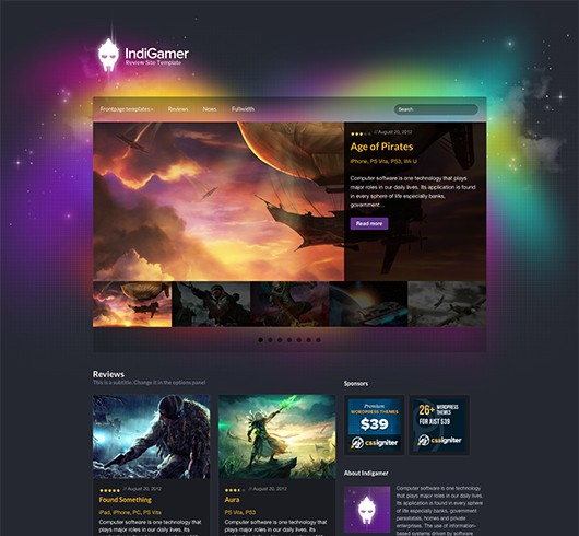 Screenshot of Review theme for WordPress IndiGamer