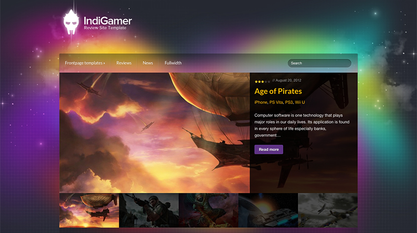 Screenshot of Review theme for WordPress IndiGamer on Desktop
