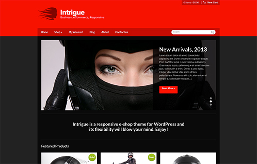 Screenshot of WooCommerce WordPress theme Intrigue on Laptop