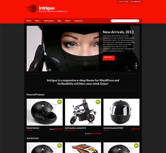 Screenshot of WooCommerce WordPress theme Intrigue