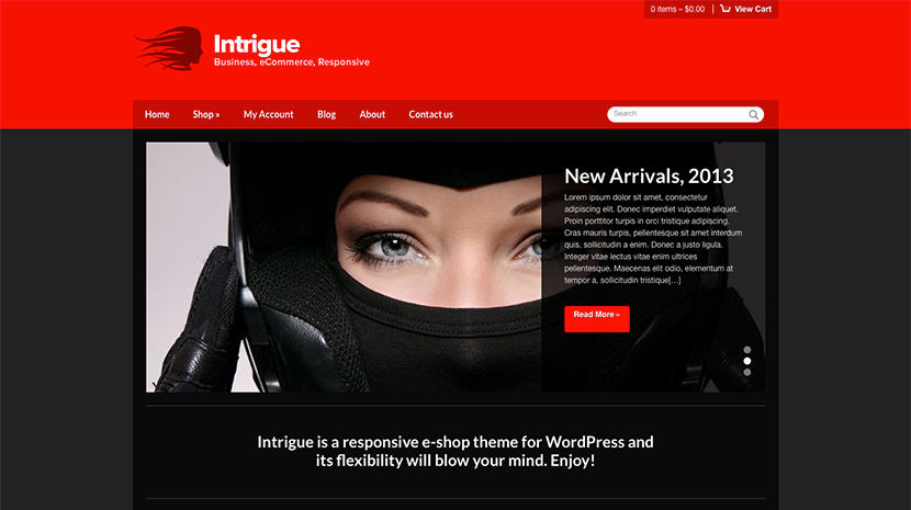 Screenshot of WooCommerce WordPress theme Intrigue on Desktop