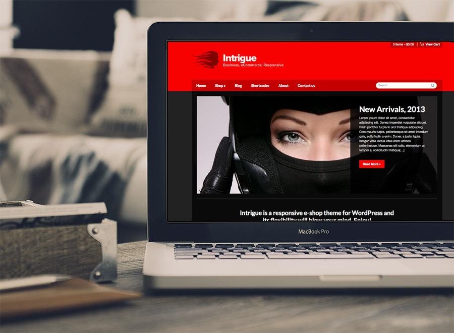 Screenshot of WooCommerce WordPress theme Intrigue on Laptop