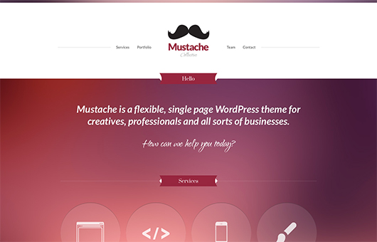 Screenshot of Business/Portfolio WordPress theme Mustache on Laptop