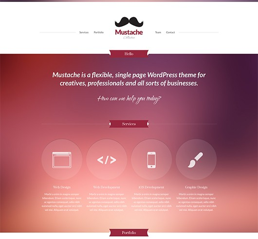 Screenshot of Business/Portfolio WordPress theme Mustache
