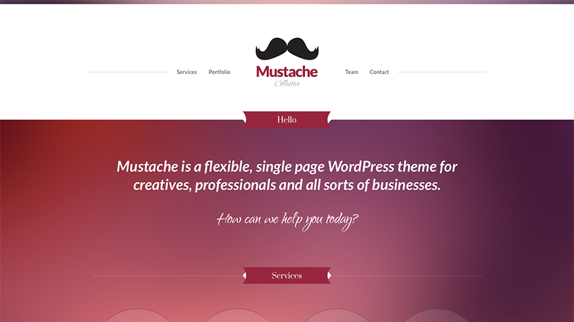 Screenshot of Business/Portfolio WordPress theme Mustache on Desktop