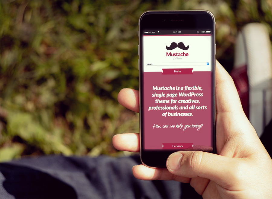 Screenshot of Business/Portfolio WordPress theme Mustache on Smartphone