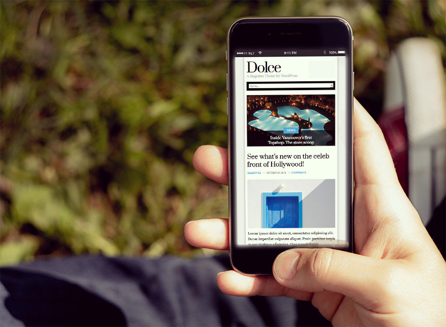 Screenshot of Magazine theme for WordPress Dolce on Smartphone