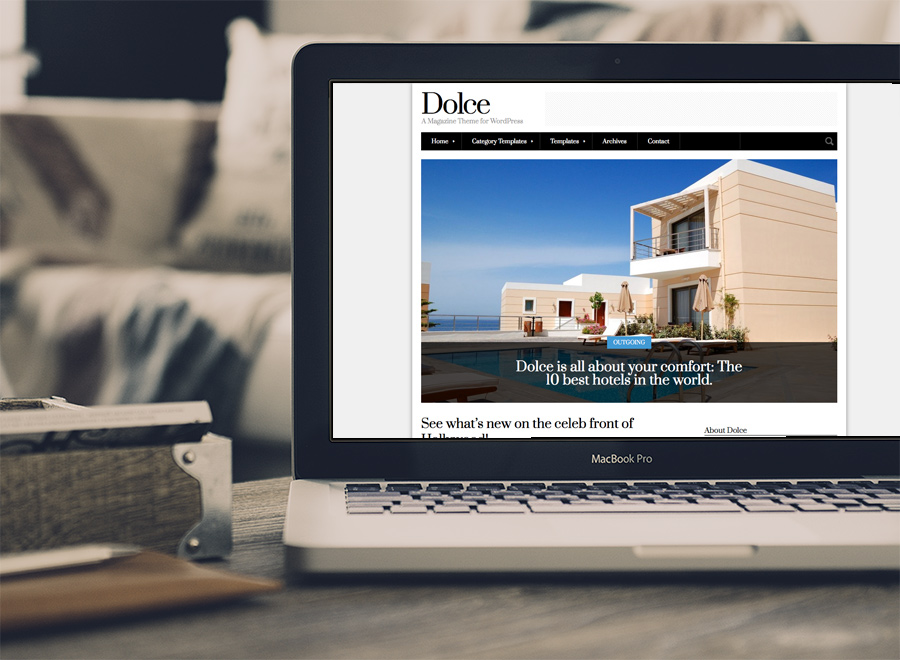 Screenshot of Magazine theme for WordPress Dolce on Laptop