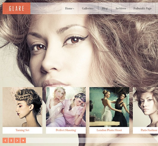 Screenshot of WordPress theme for photographers Glare