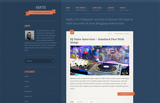 Screenshot of A tumblr-like theme for WordPress Hartee on Laptop