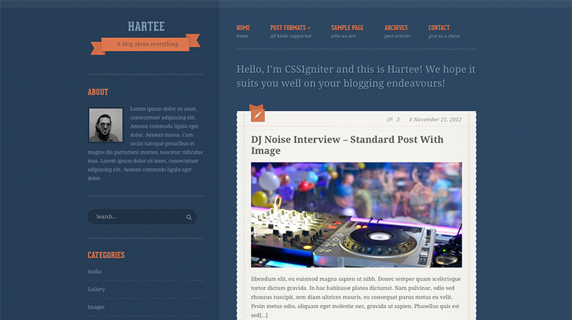 Screenshot of A tumblr-like theme for WordPress Hartee on Desktop