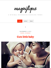 Screenshot of Free Blogging theme for WordPress Magnifique on Mini Tablet