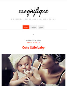 Screenshot of Free Blogging theme for WordPress Magnifique on Tablet