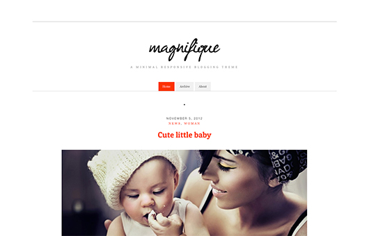 Screenshot of Free Blogging theme for WordPress Magnifique on Laptop