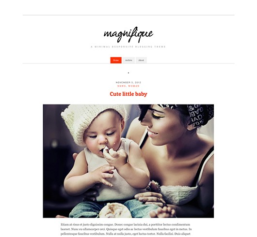 Screenshot of Free Blogging Theme Magnifique
