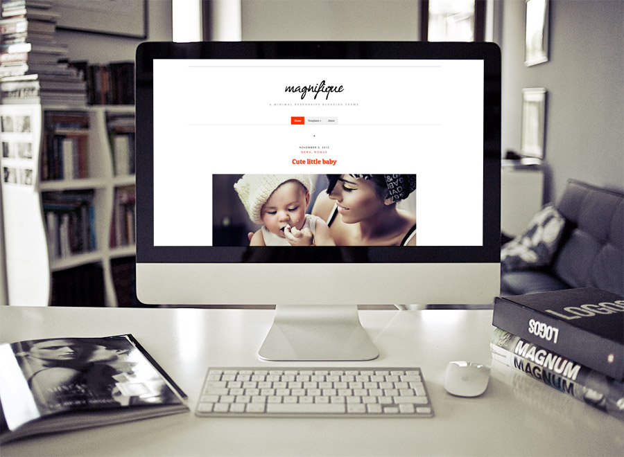 Screenshot of Free Blogging theme for WordPress Magnifique on Desktop