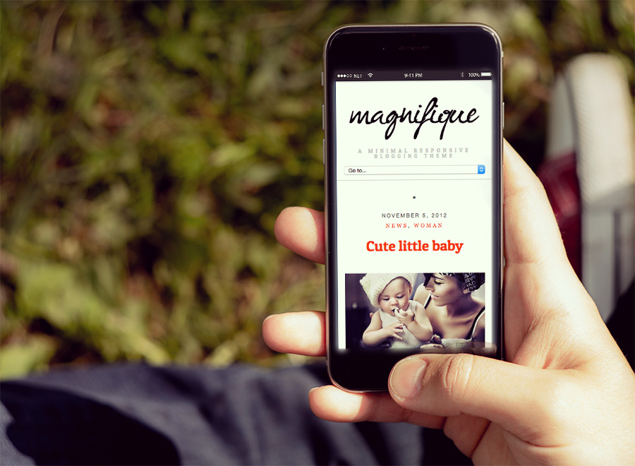 Screenshot of Free Blogging theme for WordPress Magnifique on Smartphone