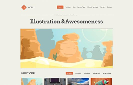 Screenshot of Portfolio/Business Theme for WordPress Mozzy on Laptop