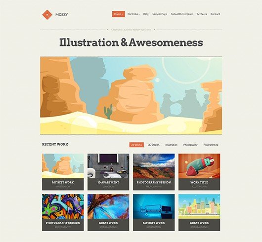 Screenshot of Portfolio/Business Theme for WordPress Mozzy