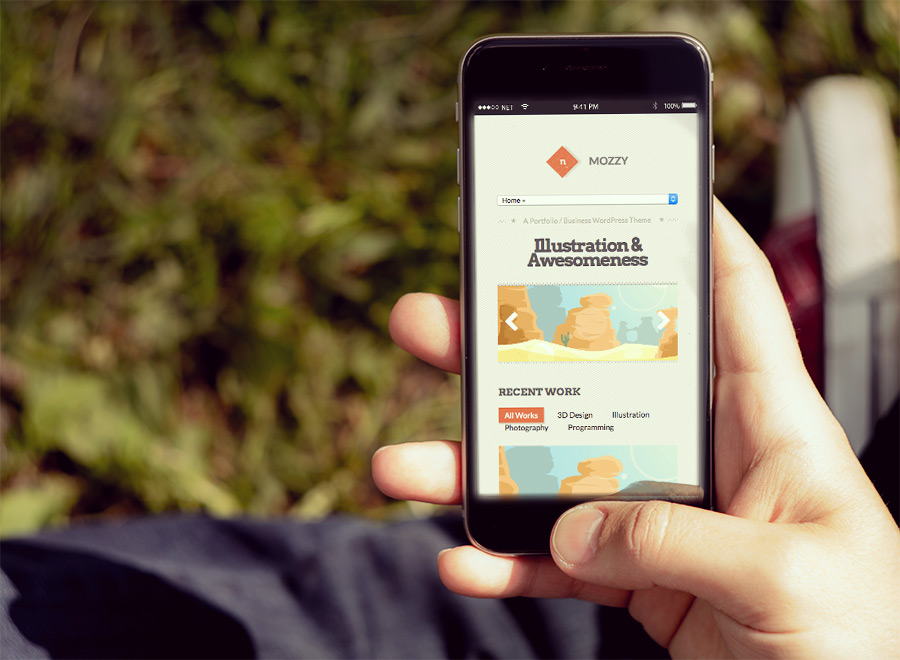 Screenshot of Portfolio/Business Theme for WordPress Mozzy on Smartphone
