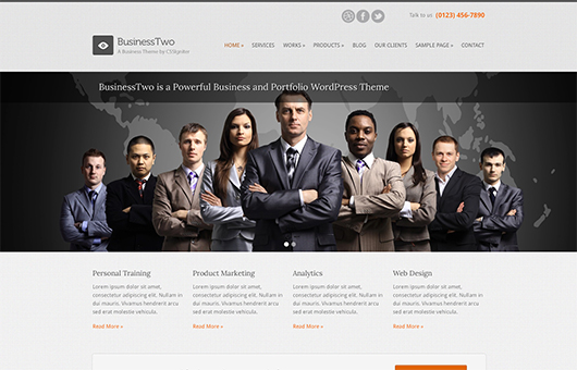 Screenshot of Business theme for WordPress BusinessTwo on Laptop