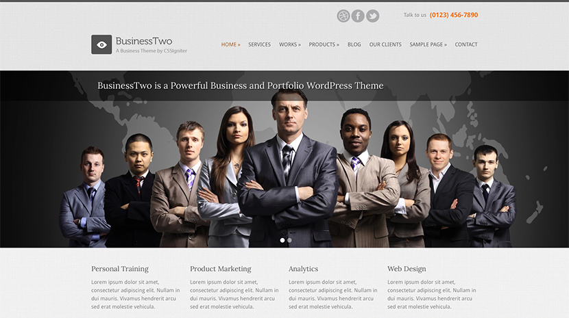 Screenshot of Business theme for WordPress BusinessTwo on Desktop