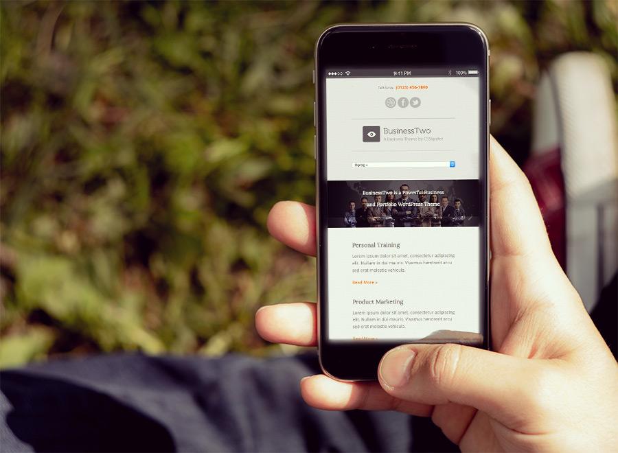 Screenshot of Business theme for WordPress BusinessTwo on Smartphone
