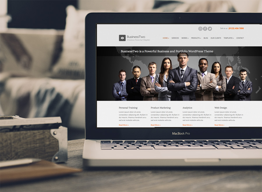 Screenshot of Business theme for WordPress BusinessTwo on Laptop